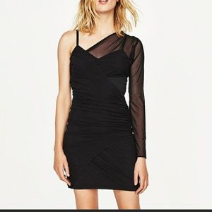 Zara wrap one shoulder dress